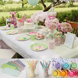 Wholesale Mixed Color ECO Friendly Retro Vintage Stripes Polka Dot Spotty Paper Party Wedding Drinking Straws For Bar ZZM