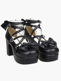 Wholesale-Sweet Black PU Leather Round Toe Bow Chunky Heel Cosplay Costumes