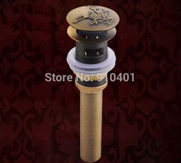 Wholesale Hot Sale And Retail Promotion Antique Brass Basin Sink Drain Pop Up Waste Vanity Flower Shape With Overflow