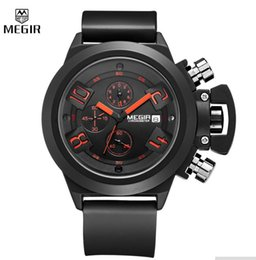 Wholesale MEGIR Elegant Classic Black Men s Watch Classical Art Carved Craft Design Precision Time Chronograph Men Sport Watches Relogios