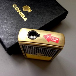 Wholesale COHIBA MINI Gadgets Antique Bronze Metal Pocket Size Windproof Butane Gas Torch Jet Flame Cigar Cigarette Lighter