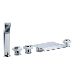 Wholesale CLOUD POWER Chrome Bathrub Faucets With Brass Bathroom Basin Deck Mounted Bathroom Sink Faucets Mixer Taps Sets