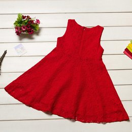 2016 Floral Hollow Girls Dresses 2-7years Red Sleeveless Summer Children One-Piece Dress Girl Clothes Jumper Blouses