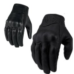 0701 Retro Perforated Leather Motorcycle Gloves 2 Style Cycling Moto Motorbike Protective Gears Moto Touch Screen Gloves