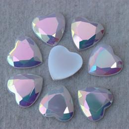 100PCS 16mm new AB Jelly Heart Acrylic Rhinestones Flat Back Acrylic Beads ZZ17