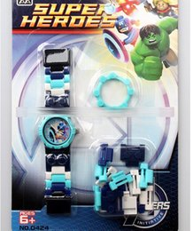 Wholesale EMS The Avengers Superhero Building Blocks Watches Super Hero Pointer Watch Toy brick wrist watches Avengers Age of Ultron toy gift D4443