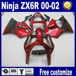 Red black custom paint fairings for 2000 2001 2002 Kawasaki ZX6R fairing kits 636 ZX-6R 00 01 02 ZX 6R ABS plastic parts