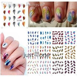 Wholesale-Hot New Feather Design Nail Art Decorate Transfer Stickers Decal Nail Tips New 54