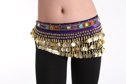 Wholesale Champagne Royal Blue Colors - Super Ring Belly Dance Waist Chain 8 Colors 3 Rows 228 Coins Stage Wear Indian Dance Hip Skirt Scarf Wrap Belt Costume A0332