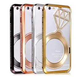 Wholesale For iphone Plus S Luxury Diamond Star Rhinestone Bumper Bling Crystal Aluminium Metal Frame Case Cover pc