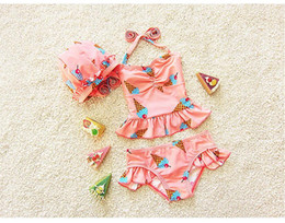 Wholesale 2016 new Korean children swimwear split skirt lovely sweet baby girls swimwear BH1751
