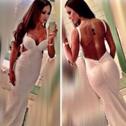 2016 Designer Long Evening Dresses Ivory Sequin Backless Low Back Mermaid V-neck Floor Length Sleeveless Sexy Prom Dress Custom