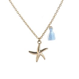 Star Tassel Necklace, Blue Tassel, Long Chain Necklace, Charm Necklace, Starfish Silver Chain Necklace, Minimilist Jewellery