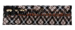 Wholesale Cheap Professional New Makeup Artist Customized Make Up Tool Kit Make Up Brushes Set With Coffee Plaid Case V0189A