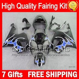 7gifts+Bodywork For HONDA VTR1000 Blue flames 00-07 VTR 1000 RC51 SP1 SP2 46LC26 VTR1000R RTV1000 2000 2001 2002 2003 07 Black Fairing Kit