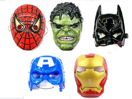Spiderman Hulk Batman Captain America Ironman Avengers Face Mask Plastic Children Halloween Masquerade Party Toys