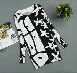 Winter Sweater Dress 2014 Womens basic loose Slim knitted dresses black white print long pullover sweater dress B3