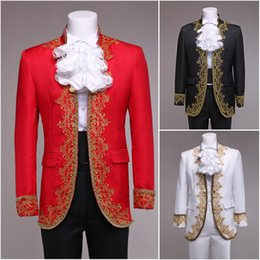 2015 High-end Customized Black Red White Mens Pant Suit Vintage Print Gentleman Blazer Suits Medieval Mens Period Costume
