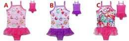 Wholesale 3Colors Shopping World Kids Summer Swimwear One Piece Lace Tutu Swimsuits Girls Summer Bathing Clothes Beach Swimming Clothes COLOR