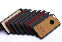 Wholesale iPhone S Case Wood Grain Luxury PC Leather Hybrid Phone Back Cover For iPhone S S S Plus S