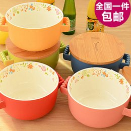 Wholesale creative cute ceramic bowl of instant noodles Japanese style rice noodle soup bowl with lid bowl tableware