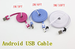 Micro USB Cable Charger & data For Samsung  HTC  LG  Android Phone Noodle Flat cable good quality 1M 3FT 2M 6FT 3M 10FT
