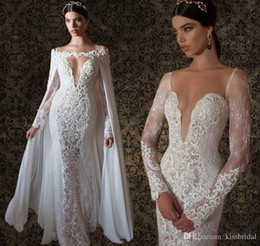 Wholesale 2015 Berta Bridal Sexy Plunging V Neck Wedding Dresses with Ivory Lace Long Sleeves Sheer Back With Cape Vintage Mermaid Bridal Gowns