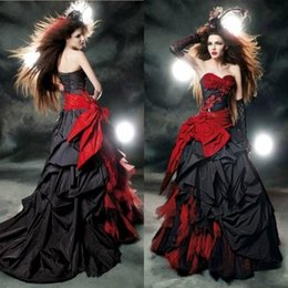Wholesale Victorian Gothic Red and Black Ball Gown Wedding Dresses Hot Sales Sweetheart Neckline Ruched Corset Ball Wedding Dresses with Bow Sash