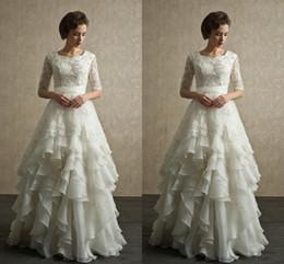 Wedding Dresses With Sleeves A Line Shape Half Sleeve Bridal Dress Lace Wedding Dress Flouncing Beach Garden Full Back Zipper Plus Size
