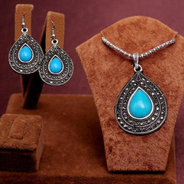 Newest Arrival Romantic antique silver red green blue black water drop beads Design Necklace Earrings Jewelry Set women's gift