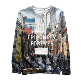 w1213 Raisevern 2015 new harajuku sweatshirts 3D pullovers I'M LONELY FOREVER letters printed hoodie sweatshirt men women's 3d clothes