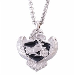 Wholesale Lily Stainless Steel Cremation Jewelry Black Enamel Shield Motorcycle Memorial Ash Pendant Urn Necklace Keepsake with Gift Bag And Chain