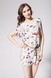 Wholesale Europe new large size dresses Bat sleeve Bird Print Chiffon Dress with a belt