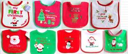 2015 new 10pcs baby Christmas bib Embroidered Towel cloth waterproof bib cotton towel Baby and children saliva towel baby bibs