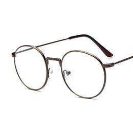 Men s round eyeglass frames en Línea-10 pedazos / porción venden al por mayor los vidrios redondos 9719 del marco del metal de la pierna floral de la vendimia Los anteojos del inconformista de los hombres de las mujeres enmarcan los marcos del espejo del llano de la miopía