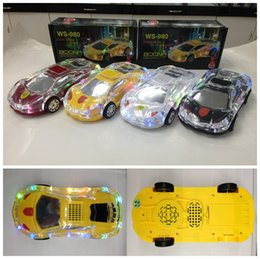 Wholesale WS Car Model LED Light Mini Speaker Portable Crystal Car Style Audio Bass Speakers TF Card Call Function Also Sell WS WS V18