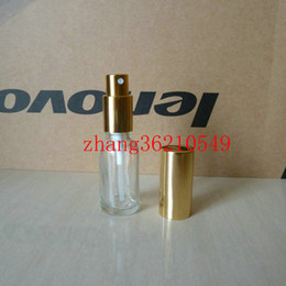 20ml clear transparent Glass perfume Bottle With aluminum shiny gold mist sprayer. perfume atomizer bottle container