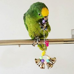 Wholesale Lovely Bird Hanging Bell Cage Parrot Bite Toys Colorful Plastic Belling Toy Suitable For Budgie Cockatoo