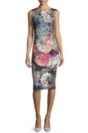 Fashion Flower Print Women Sheath Dress V-Neck Dresses 120912
