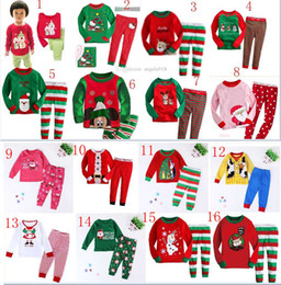 Wholesale 2015 new style Children Home Christmas Outfits sweater top and pant set with Cartoon picture Christmas Pajamas set Baby Clothing C040