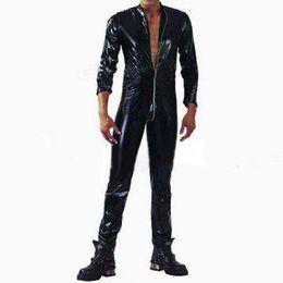 Wholesale Catsuit Crotch Opening - Wholesale-Plus S-XXL Strong Men Black PVC Leather Latex Bodysuit Top PU Sexy Zentai Catsuit Gay Male Leotard Open Crotch Zippre Jumpsuit
