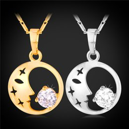 U7 Moon And Stars Cubic Zirconia Pendant Necklace For Women 18K Real Gold Platinum Plated Fashion Jewelry Perfect Gift