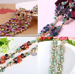 1 Yard Colorful Rhinestone Marquise Flower Ribbon Trim Chain Sewing Craft DiY