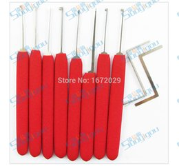 10 hook pins Lock Pick set Rubber-Covered Handle Locksmith Tools with Double Ended tension tool BK150