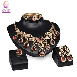 Fashion Austria Crystal Water drop Emerald Ruby Black Gem Necklace Jewelry Sets Classic Design 18K Gold Plated Women Party Gift