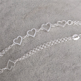 Newest 1PC 925 Sterling Silver Love Heart jewelry accessories women Sexy beach Anklet Free Shipping