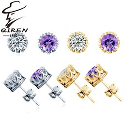 Wholesale 925 sterling silver earrings natural crystal fashion small crown stud earrings birthday gift love earrings for women