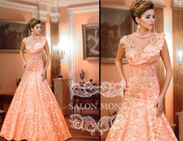 Wholesale 2016 New Arrival Prom Dresses For Sale Orange Lace Applique A Line Beads Collar Cheap Evening Celebrity Party Dress Online Website
