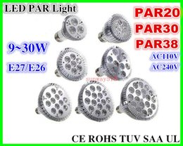 Wholesale E27 E26 PAR20 PAR30 PAR38 led bulbs light W W W W W W Dimmable V V warm pure cool white led spotights