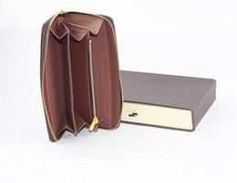 Wholesale Classic Hot Selling Women Genuine Leather Zippy Wallet N60015 M60017 N60019 Brown Mono Brown Checker Plaid White Azur Canvas